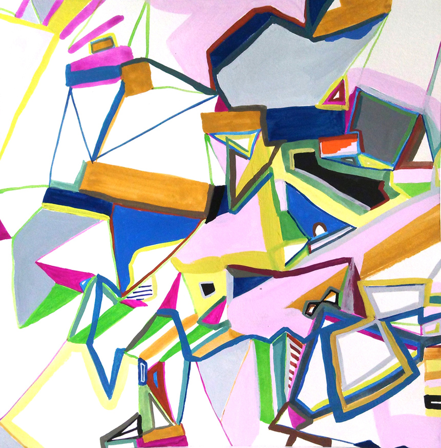 Untitled (24d-02), gouache on paper, 10 by 10.25 inches, 2014