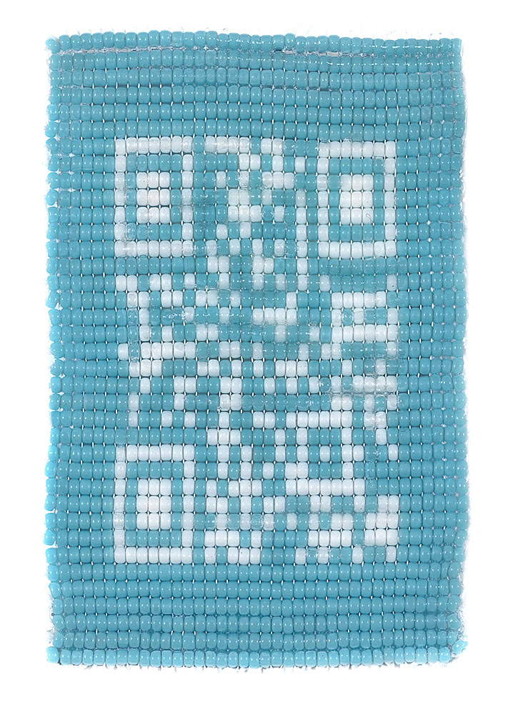 Untitled (QR Code),15mm glass beads and synthetic thread, 2015